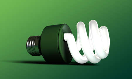 compact fluorescent lightbulb: green bulb isolated on green background