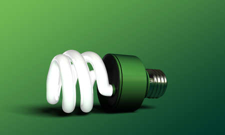 green bulb isolated on green background photo