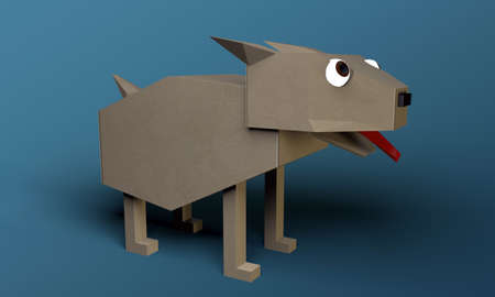 origami dog isolated on blue background photo