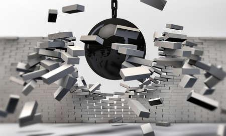 penetracion: bola de demolición aislado sobre fondo blanco