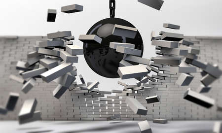 penetration: wrecking ball isolated on white background Stock Photo