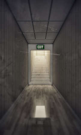 corridor with wooden parquet and white stairs close the exit door photo