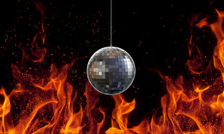 glitter ball isolated on fire background photo