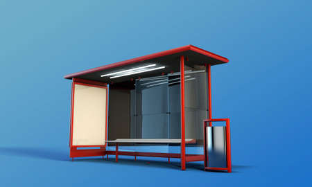 bus stop isolated on blue background Stock Photo - 15382750