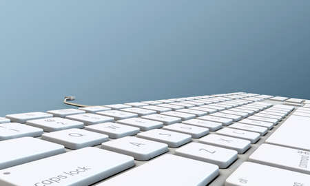 computer support: keyboard isolated on blue background