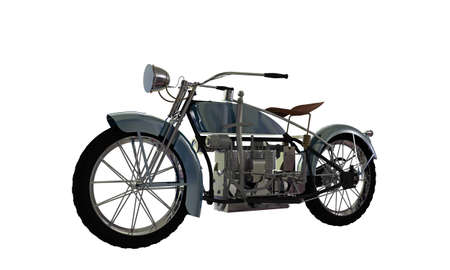 benzine: old motorcycle isolated on white background Stock Photo