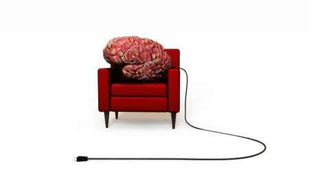 solver: big brain relaxing in a red armchair isolated on white background