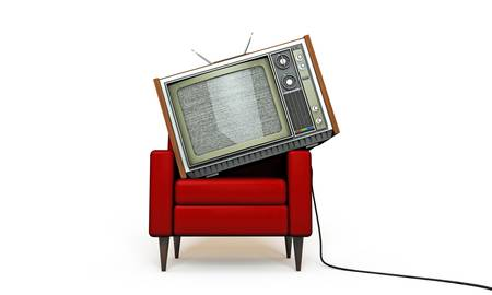 sofa set: old tv relaxing in a red armchair isolated on white background