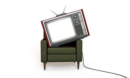 old tv relaxing in a green armchair isolated on white background photo