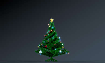 christmas tree isolated on black background photo