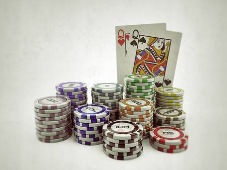 poker stuff on white background photo