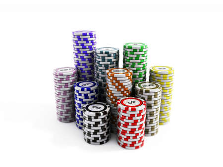 poker chips: poker chips isolated on white background Stock Photo