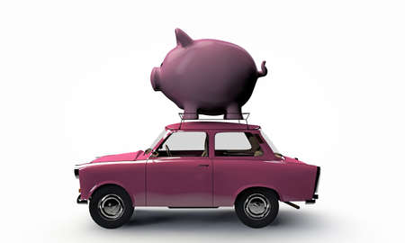 old pink car transporting a big piggy bank on top isolated on white background photo