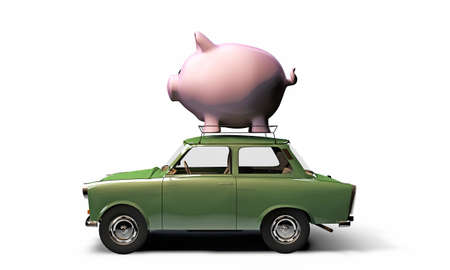 old green car trasporting a big piggy bank on top isolated on white background photo