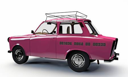 old pink car isolated on white background photo