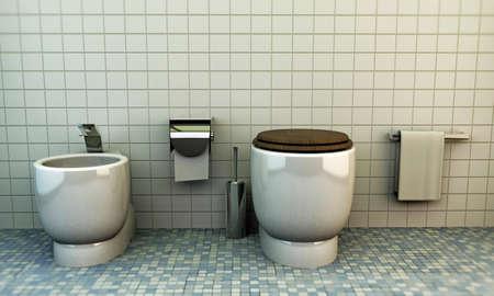 modern toilette with white ceramics