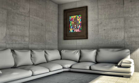concrete room: white sofa in concrete room with a nice ginger bread canvas
