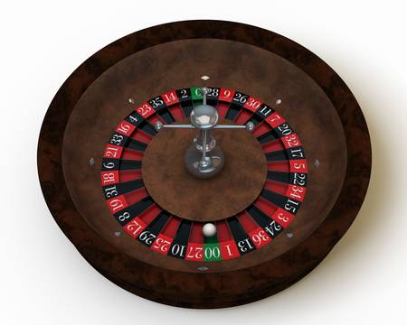 casino roulette on white table photo