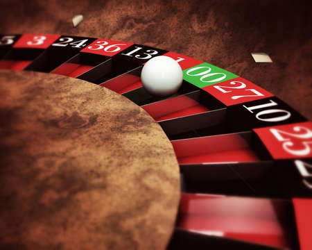 casino roulette with white ball on green numbers photo