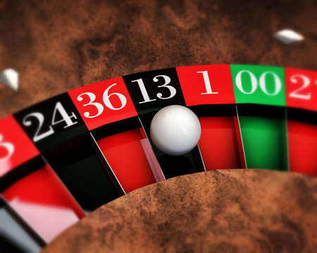 thirteen: casino roulette with white ball on thirteen number