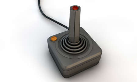 retro joystick isolated on white background photo