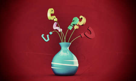question mark in a vase isolated on red background Stock Photo - 15982907