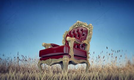 red pillows: regal armchair on a dry field  Stock Photo