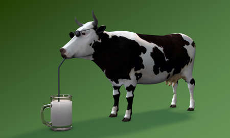 cow drinking milk isolated on green background photo