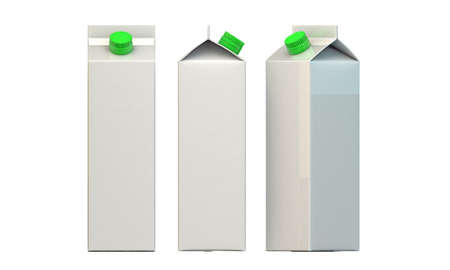 milk package with green cap isolated on white background photo