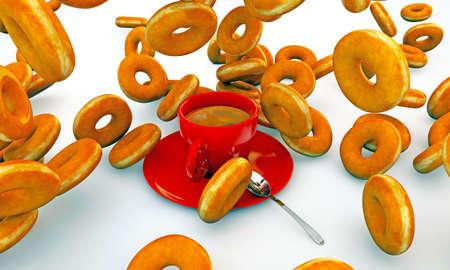 cofffee: donuts falling on cup of coffee Stock Photo