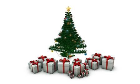 christmas tree isolated on white background Stock Photo - 16188132