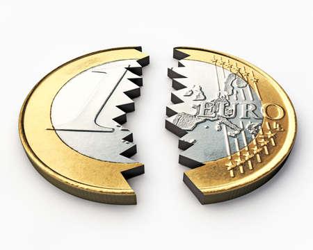 crisis economica: euro rotos aislados sobre fondo blanco Foto de archivo