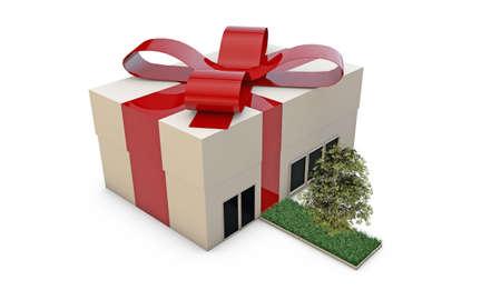 casa regalo con nastro rosso isolato su sfondo bianco photo