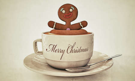 gingerbread man happy bath with cappuccino Stock Photo - 16455437