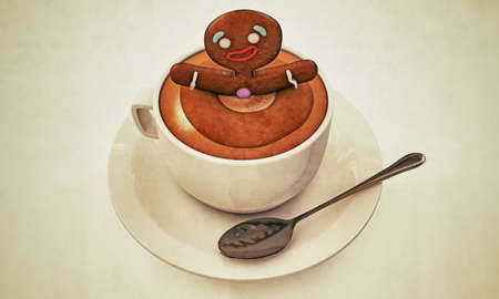 gingerbread man happy bath with cappuccino Stock Photo - 16455439