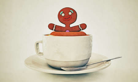 gingerbread man happy bath with cappuccino photo