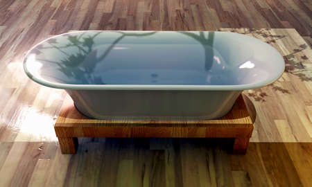 bathtub on wooden parquet Stock Photo - 16455444