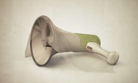amplify: megaphone in old photo isolated on white background