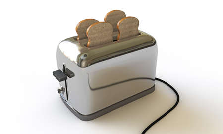 toaster isolated on white background photo