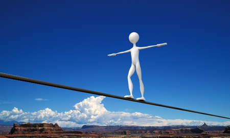 trapeze: tightrope walker in the desert