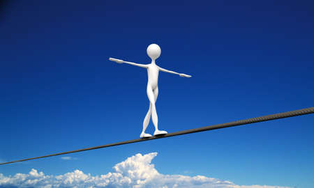 tightrope walker in the sky Stock Photo - 16601168