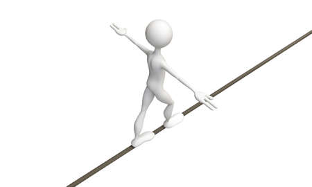 tightrope walker isolated on white background photo