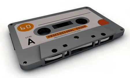 dubbing: cassette tape isolated on white backgroud