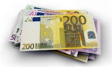 billets euros: billets en euros isol� sur fond blanc