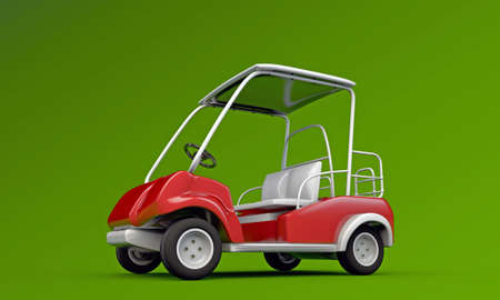 golf cart isolated on green background photo