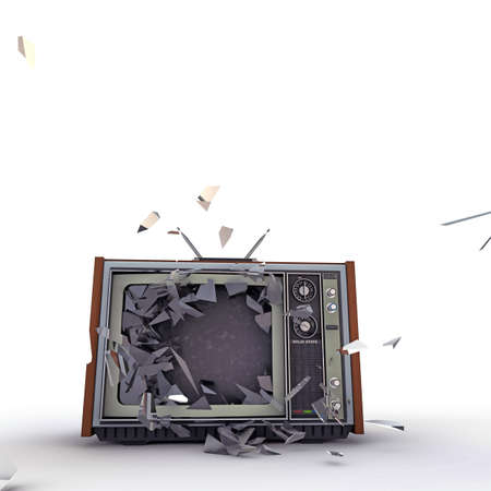tv screen: tv exploding isolated on white background