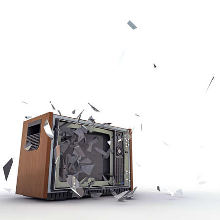 shattered glass: tv exploding isolated on white background