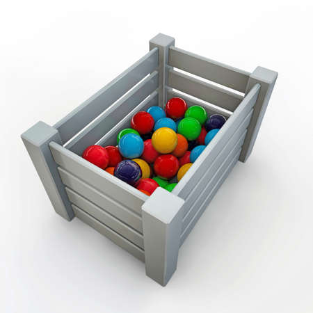 gumballs: white crate with gumballs isolated on white background