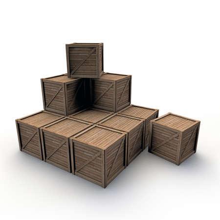 overwhite: wooden crates Stock Photo