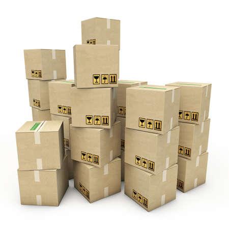 cardboard boxes isolated on white background Standard-Bild